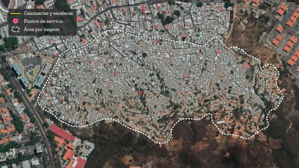 Imagen satelital del barrio San Miguel de La Vega en Caracas