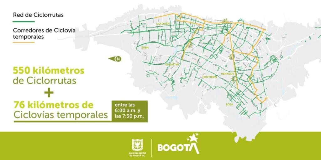Mapa de cilovías temporales en Bogotá.