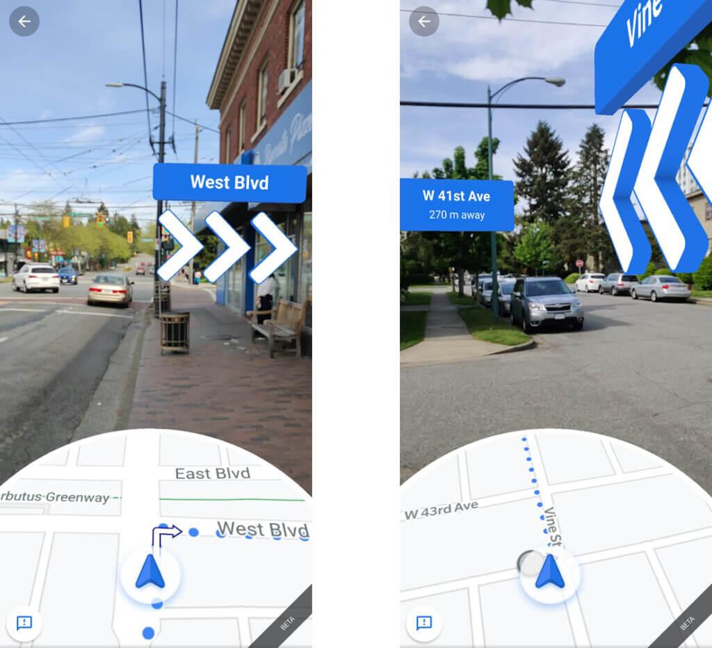 Pantallazos de Google Maps guiando