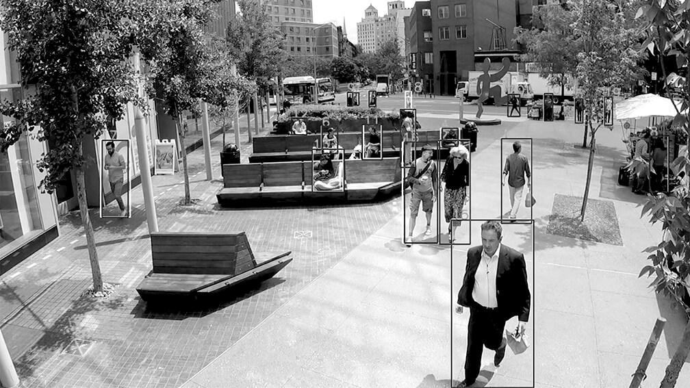 Imagen ejemplo del análisis en una plaza urbana de Manhattan